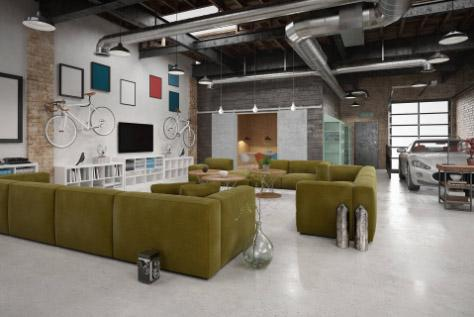Modern office with exposed HVAC